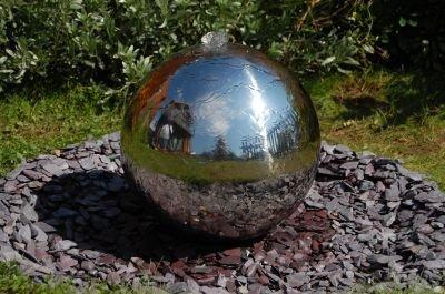 Primrose Edelstahl-Kugelbrunnen mit LED-Beleuchtung ohne Reservoir 150cm