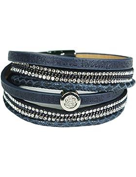 Mevina Damen Armband Glitzer Schrift Kette Strass Wickelarmband Magnetverschluss Shamballa Glitzerarmband Luxus