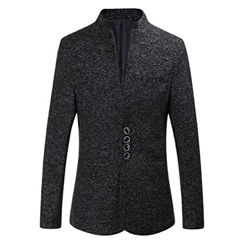 Zhiyuanan Herren Große Größe Casual Blazer Jacken Stehkragen Einreiher Slim Fit Suit Weich Elegant Business Männer Sakko Mantel Schwarz 6XL - Leinen-einreiher Sakko