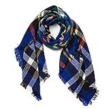 HIMONE Damen Herbst Winter Schal Oversized Rechteckig Schal Decken Schal Weich Warm Karo Poncho Patchwork (Blau)