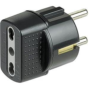 Bticino S3625G Adattatore con Spina Tedesca e Presa Bipasso, Corrente massima 16 Ampere, Nero 51l8E7LdV4L. SS300