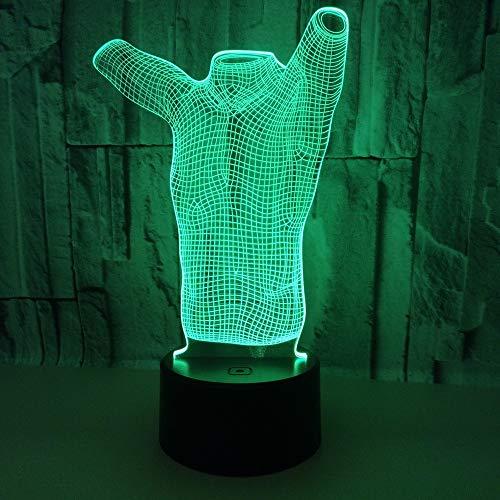 YWYU 3D Nachtlicht LED Illusion Lampe 7 Farben Allmählich änderndes virtuelles Licht USB Touch Schalter Acryl Kleidung Modell Tischlampe Fernbedienung für Jungen Mädchen Spielzeug Geschenke -