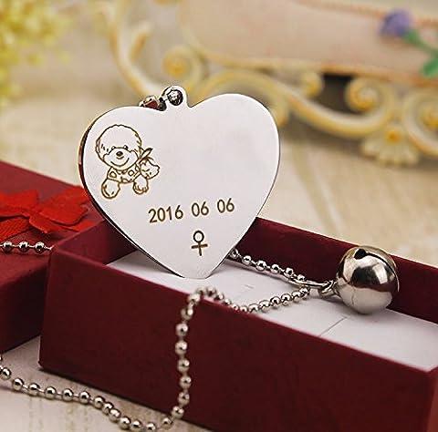 Le chien dog tag, carte d'identité de personnalisation lettrage, chien chat collier, nom de l'animal,argent en forme de Cœur,l- grand