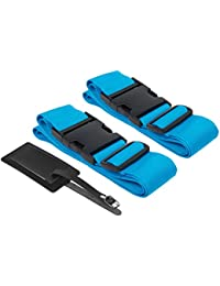 Suitcase Straps / Luggage Straps - Tsa Friendly Travel Belt And Tag 2 Pack Set - For Roller Luggage, Carry On,...