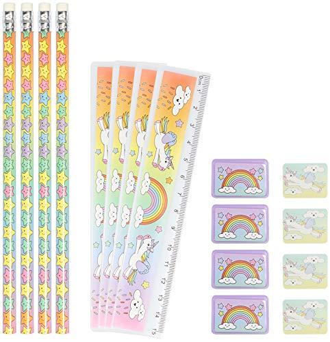 com-four® 4X Schreibset Kinder - Schulschreibset mit Bleistift, Lineal, Anspitzer und Radiergummi - Schreibset Einhorn für Mädchen (16-teilig - Einhorn)