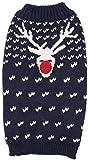 B-Creative Hundepullover, weihnachtliches Design, warm, mit Schneeflocken, Rentier und roter Nase