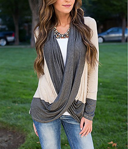Damen Lange Ärmel Beiläufige Casual Irregular Lässig Mode Tops V-Ausschnitt Pullover Hemd Hemden Strickjacke Shirt Oberteile Short Shirt Bolero Grau