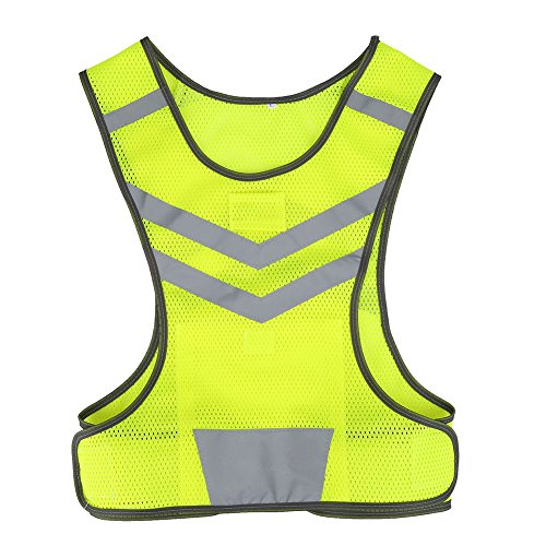 Gilet Riflettente di Sicurezza con Tasca Interna, Regolabile Ad Alta visibilità Gilet per Gli Sport all'Aria Aperta(Giallo Fluorescente)