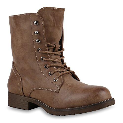 Damen Stiefeletten Profilsohle Worker Boots Leder-Optik Schnürstiefeletten Camouflage Verlours Schuhe 126200 Hellbraun 39 Flandell