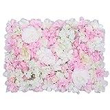 Trimming Shop Artificiale Finto Fiore Hydrangea Wall Panel - Peach con Bianco per Back Drops Background, Flower Pillar, Matrimonio, Party, Home & Main Road Decoration - 60 x 40cm
