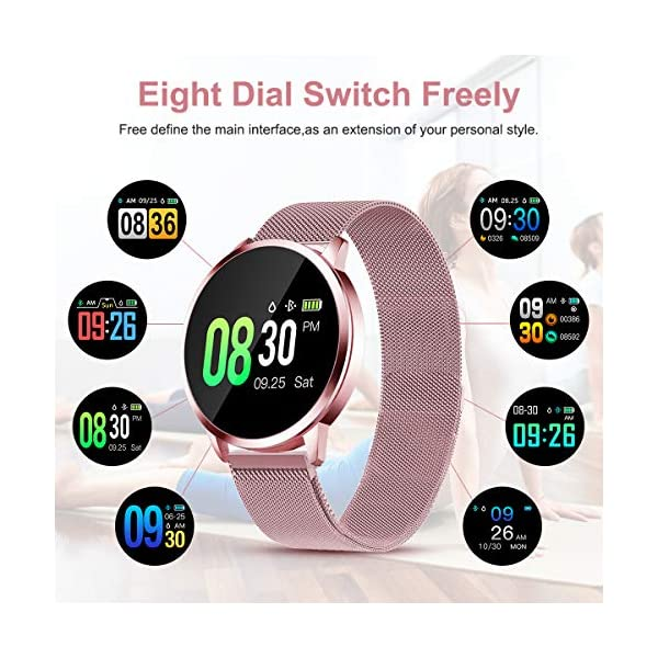 Smartwatch Mujer Rosa Impermeable Reloj Inteligente Elegante Fitness con Monitor Impermeable IP67 con Monitor de Sueño Pulsómetros Podómetro Contador de Caloría Compatible con iOS Android 3