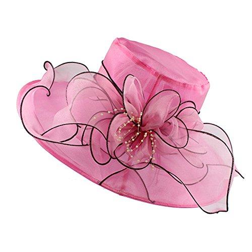 Prettychic Damen Frauen faltbare Hochzeitskleid Kirche Hut Blumen Gaze Sun Derby Hut