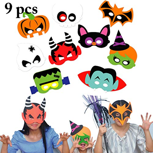 Joyibay 9 SäTze Halloween Maske Kreative DIY Cartoon Eva Party Maske Kostüm Maske für Kinder