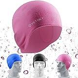 vetoky Gorro de baño para Adultos niños con Mujeres/Hombres para Cubrir Orejas Impermeables natación Sombreros Silicona Transparente Tener Negro/Rosa / Azul/para Elegir (Rose)