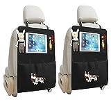 Sagratore - 2organizadores para asiento de coche con bolsillos portaobjetos y espacio para iPad 2Pcs Cebra