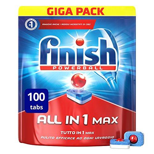 Finish all in 1 max pastiglie lavastoviglie, regular, 100 capsule