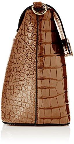 SwankySwansTrudi Gold Patent Leather Shoulder Bag Tan - Borsa a tracolla donna Brown (Tan)