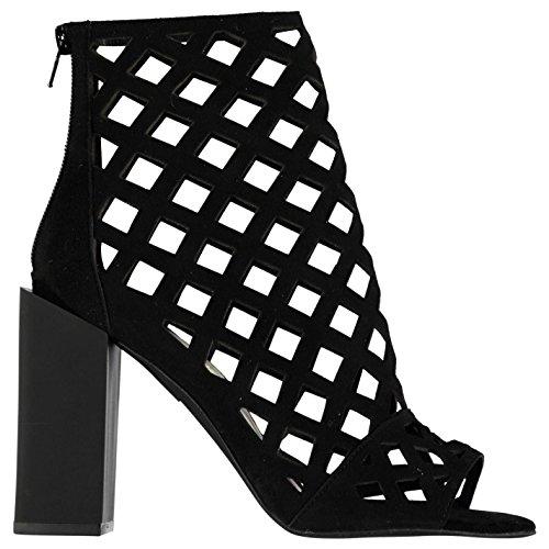 Jeffrey Campbell Damen Praxis Leder Schuhe Blockabsatz High Heel Cut Out Design Schwarz