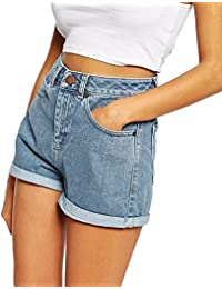 Minetom Sommer Damen Denim Shorts High Waist Hot Pants Lochjeans Vintage  Baggy Basic Kurz Jeans Hose 9295d64a51