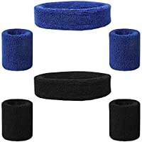 FineGood Set di 6 Pezzi fasciatoio, Cotton Sport Athletic Fascia Wristband per Uomo Donna Ciclismo Running Tennis Basketball - Nero, Blu