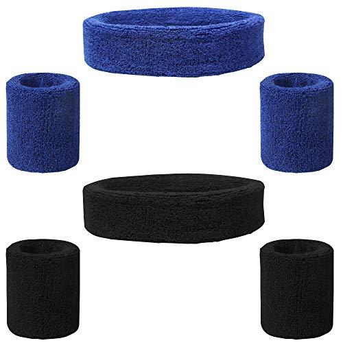 FineGood 6 Stück Schweißband Set, Cotton Sport Athletic Stirnband Armband für Männer Frauen Radfahren Laufen Tennis Basketball - Schwarz, Blau