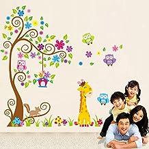 Rainbow Fox Sticker da muro e lettere in legno Albero Fiore Colorato Simpatici Gufi Leone Cervo Adesivi Murali, Camera dei Bambini Vivai Adesivi da Parete Removibili/Stickers Murali/Decorazione