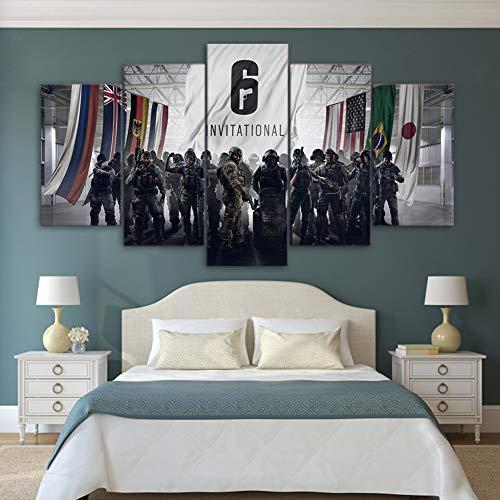 BOYH HD gedruckt 5 Stücke Leinwand Malerei Tom Clancy's Rainbow Six Siege Poster Modern Wandkunst Wohnzimmer Wohnkultur,B,10×15×2+10×20×2+10×25×1 -