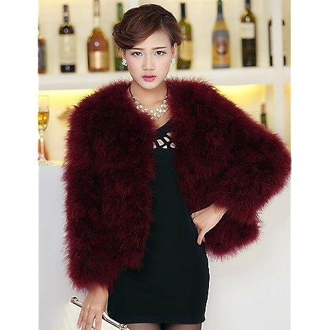 Xi&SOSO Splendida a maniche lunghe colletto di pelliccia Struzzo Casual / partito giacca , black , m - Faux Struzzo