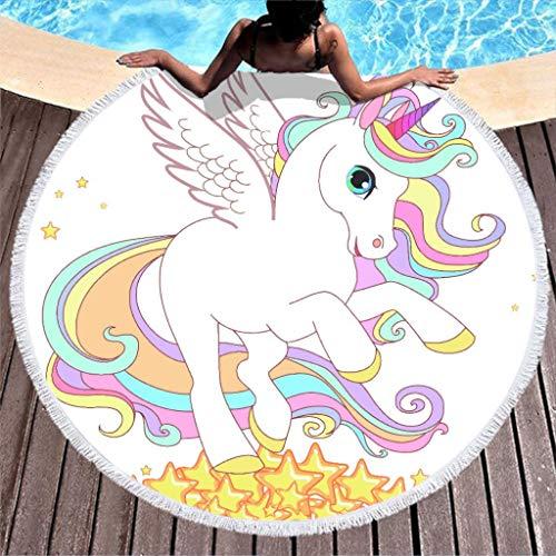 Dhmaße - Toalla de playa redonda con diseño de unicornio, bohemio, para yoga, playa, tapicería, alfombra, toalla de mano, protección solar, bufanda, mantel, picnic, esterilla con borla, blanco, 150 cm