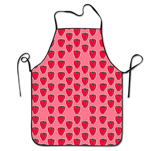 Pink Strawberry Fruit Pattern Aprons Bib Mens Womens Lace Adjustable Polyester Chef Cooking Long Full Kitchen Aprons For Outdoor Restaurant Cleaning Serving Crafting Gardening Baking BBQ Grill (Mama Strawberry Mama)