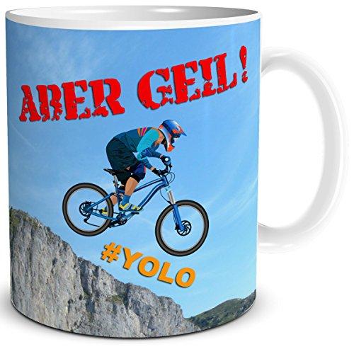 TRIOSK Tasse Biker Fahrrad mit Spruch Lustig, Geschenk für Männer Kollegen Downhill Mountainbiker Zum Geburtstag, Weiß Bunt, 300 ml