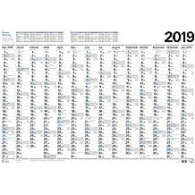Großer Wandtimer 2019: 14 Monate (Dezember 2018 - Januar 2020) I Ferientermine und Feiertage I 97x67 cm I gerollt