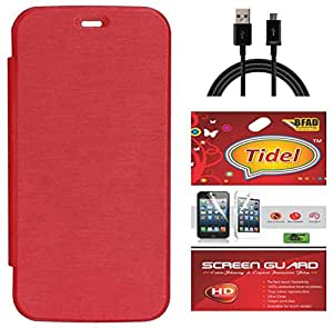 Tidel Red Flip Cover For Micromax Yu YUREKA AQ5510 With Tidel Screen Guard & Data Cable