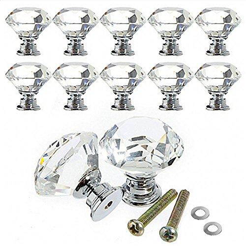 Türgriff-Sets 30 mm 10 Stück Diamant Form Kristall Schrank Knöpfe,Moebelknauf Griff Knopf,Schränke Griffe Schubladenknöpfe für Schublade,Möbel,Einzigartige Dekoration