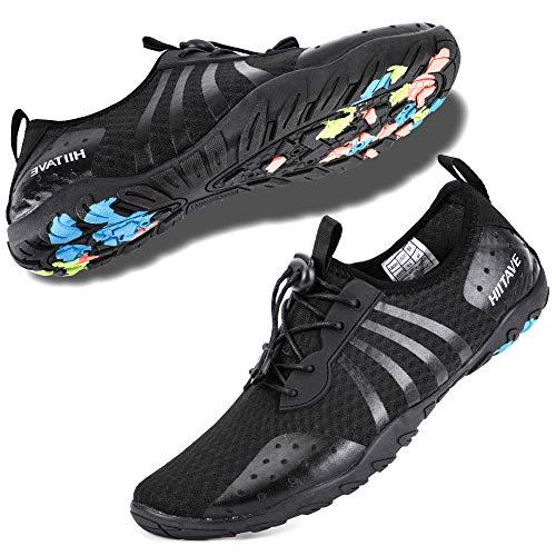 hiitave Herren Damen Wasserschuhe schnell trocknend barfuß Schlupfschuhe Strand Sport Aqua Socken, Black80 - Größe: 47 EU -