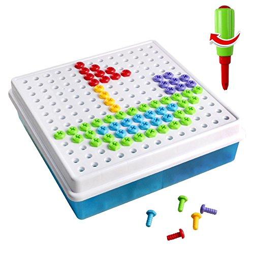 Brigamo 2401 - ⚒ Mosaik Bastelset Steckspiel zum schrauben Konstruktionsspielzeug Baukasten Set mit Kinderwerkzeug (Kostüm Kind Strauß)