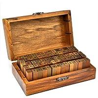 Yahee Stempel Set Holz Box Alphabet Buchstaben Letters Ziffer Zahlen Geburtstag 70tlg für Advent