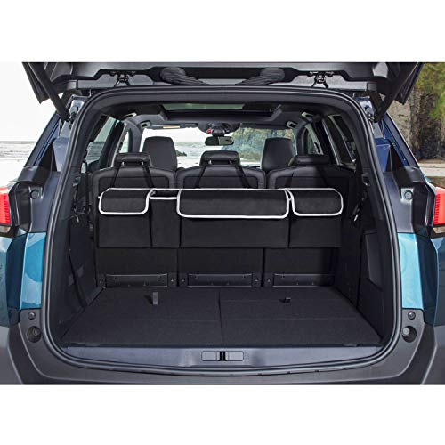 MoKo Car Backseat Trunk Organizer, Heavy Duty Hanging Seat Back Organizer Cargo Storage Bag with 4 Spacious Large Pockets, Adjustable Straps, Lips for SUV, Truck and Many Vehicles - Black -