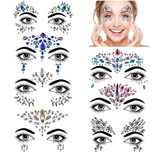 Konsait Gesicht Edelsteine, 7 Stück glitzersteine gesicht festival Temporäre Tattoos Gesichts Aufkleber, Schmucksteine Selbstklebend Gesicht, Bindi Strass Juwelen Face Sticker für Make-up