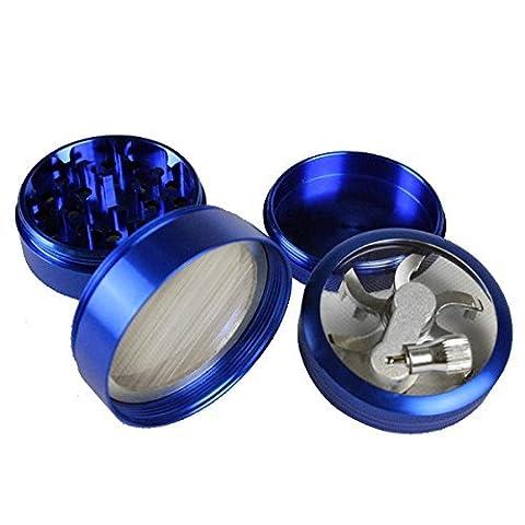 LifeJoy Premium Heavy Duty Hand Crank 4 Parts Spice Herb Tobacco Grinder, Blue by LifeJoy