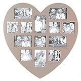 Marco de fotos pele-mele mural en foma de corazón de color gris topo con capacidad para 13 fotos