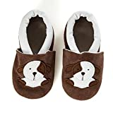 SmileBaby Premium Lauflernschuhe Krabbelschuhe Babyschuhe Baby Schuhe Braun Hund 0 bis 6 Monate