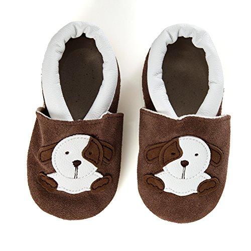 SmileBaby Premium Lauflernschuhe Krabbelschuhe Babyschuhe Baby Schuhe Braun Hund 12 bis 18 Monate