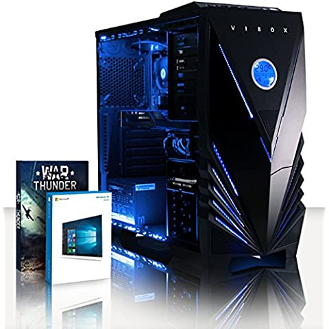 VIBOX Extreme 10 - 4,3GHz CPU 4 CoreAMDFX, RX 460 GPU, Extremo, Ordenador de sobremesa para oficina Gaming con unidad central, Windows10, Iluminaciàninterna azul (4,2GHz (4,3GHz Turbo) SuperrápidoprocesadorQuad4-CoreCPU de AMDFX4350, AMD Radeon RX 460 2GB Tarjeta Gráfica, 32 GB Memoria RAM de DDR3, velocidad de RAM: 1600MHz, 2TB(2000GB)SataIII7200 rpmdiscoduroHDD, 85+ PSU500W, Caja deViboxazul)