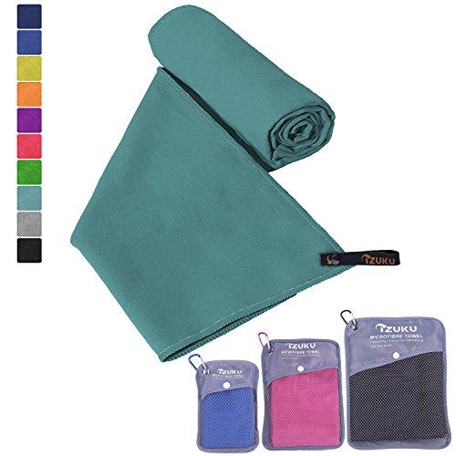 Mikrofaser Handtücher in 7 Größen/ 10 Farben ultraleicht, super saugfähig und schnelltrocknend IZUKU® Handtuch Mikrofaser antibakteriell und schmutzabweisend mit Tragetasche als Geschenk 70x140cm Cyan