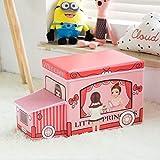 frf Sgabello di stoccaggio Sgabello Pieghevole di stoccaggio in Tessuto per Bambini, Soggiorno con Camera da Letto Foyer (Colore : Pink, Dimensioni : L40xW25xH32cm)