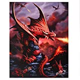 Anne Stokes Leinwand 'Fire Dragon' Age Of Dragons Serie Fantasy Art Wand Plaque