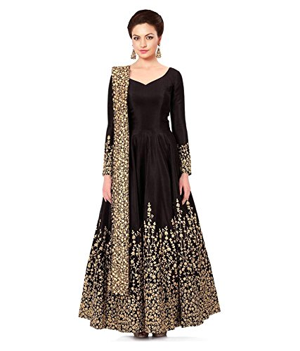DIWALI Special Offer Megha Designer Black Colored Tafeta Silk Anarkali Gown Semi-Stitched Suit