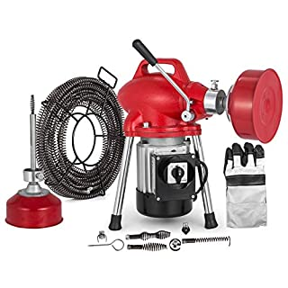 Techlifer Drain Cleaning Machine Ø20-100mm 400RPM 250W Pipe Drain Cleaner Auger Pipe Cleaning with 12.5m Spirals (GQ75)