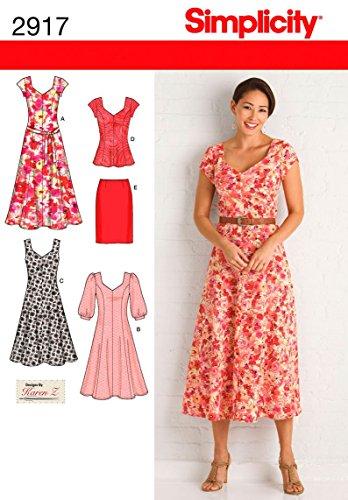 Simplicity Schnittmuster 2917AA Miss/Plus Größe Kleider